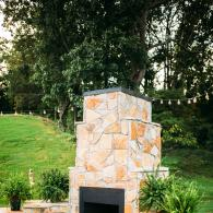Outdoor fireplace on the patio